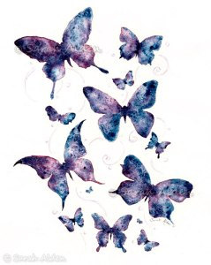 Butterfly Watercolor Art - Fantasy Print - Butterflies Painting Silhouette 5x7 by Sarah Alden at foreverfairy.etsy.com