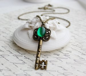 Emerald Key Necklace in Antique Brass or Antique Silver - Long by WearitoutJewelz on Etsy